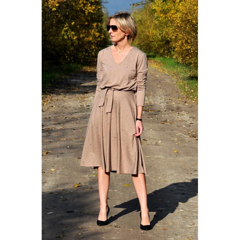 JENNIFER - V-Ausschnitt Baumwolle Midi-Kleid - schwarze ...