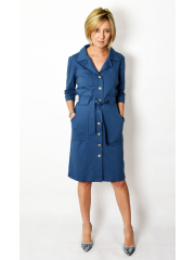 SIMONE - cotton dress with belt fastened with buttons - denim