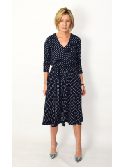 JENNIFER - V-neck cotton midi dress - navy blue in polka dots