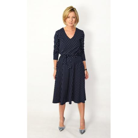 JENNIFER - V-Ausschnitt Baumwolle Midi-Kleid - Marineblau in Tupfen
