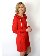 MARIO - Sweatshirt dress with a hood - red