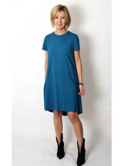 TESSA - A-förmiges Kleid mit kurzen Ärmeln - Fuchsia