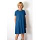 TESSA - A-shaped dress with short sleeves - fuchsia