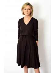 JENNIFER - V-neck cotton midi dress - chocolate