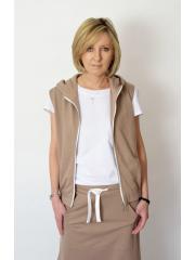TIMI - sweatshirt vest with a hood - mocha