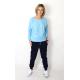 BOYFRIEND - women's sweatpants with buttons - navy blue