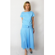 KLAUDIA - 100% COTTON SKIRT FROM THE WHEEL 7/8 - light blue color