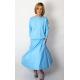 NADIA - cotton midi dress with an elastic waistband - light blue color