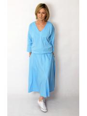 NADIA - Baumwolle Midi-Kleid mit elastischem Bund