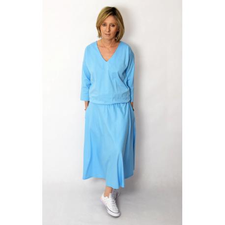 NADIA - cotton midi dress with an elastic waistband