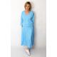 KENIA - midi dress with a V-neckline with elastic waist - light blue color