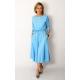 ADELA - Midi Flared cotton dress - light blue color