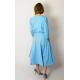 ADELA - Midi Flared cotton dress - denim