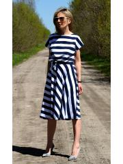 LUCY - Midi Ausgestelltes Kleid gestrickt - weiße und marineblaue Streifen