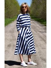 ADELA - Midi Flared cotton dress - white and navy blue stripes