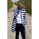 JASPER - long hoodie with pockets - white and navy blue stripes