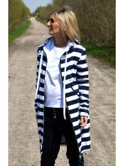 JASPER - langer Hoodie - weiße und marineblaue Streifen