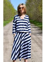 KENIA - V-Ausschnitt Midi-Kleid mit elastischem Bund - weiße und marineblaue Streifen