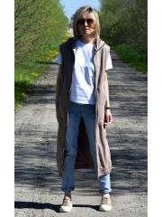DEEP - sleeveless long cardigan vest - red