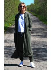 KAMA - long cardigan without fastening - khaki color