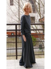 MAXIMA - cotton long dress with pockets