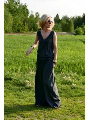 MILA - V-Ausschnitt, lange Kleid - Baumwolle