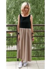 sukienka SANDRA - kolor CZARNY/MOKKA