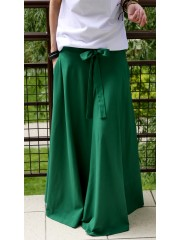 DRESCODE - long, cotton skirt with a bow or knit - green
