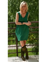 MIRANDA - Knit dress with v-neckline / 100% cotton