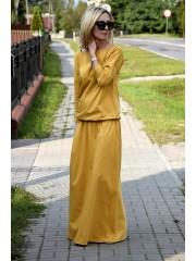 sukienka MAXIMA - kolor MUSZTARDOWY
