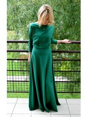 KORNELIA - LONG KNITTED DRESS - green