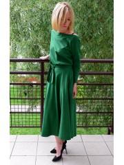 ADELA - Midi Flared Knitted dress - green