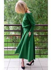 ADELA - Midi Ausgestelltes Kleid gestrickt - grün