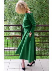 ADELA - Midi Flared Knitted dress - green
