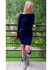 EASY - cotton mini dress with long sleeves
