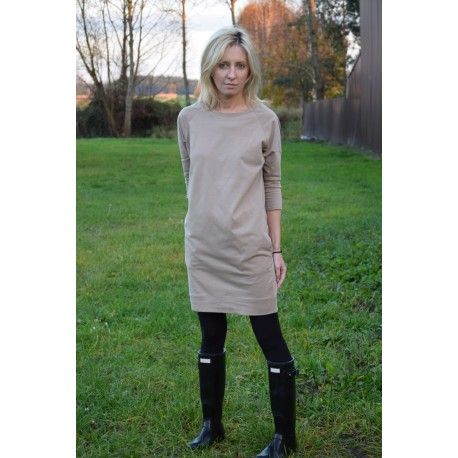 CARRIE - cotton tunic / dress with pockets - mocha