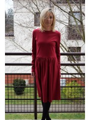 NEL - cotton midi dress - claret