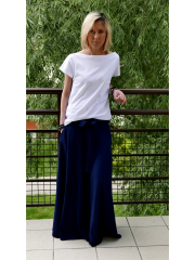 DRESCODE - long, cotton skirt with a bow or knit - navy blue