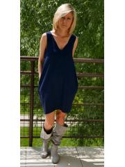 MIRANDA - Knit dress with v-neckline / 100% cotton