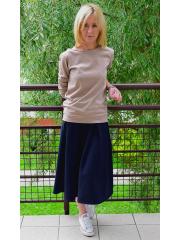 KARI - Cotton midi skirt - navy blue