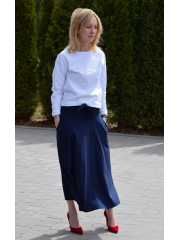 KLAUDIA - KNITTED SKIRT FROM THE WHEEL 7/8 - navy blue