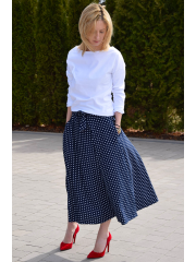 KLAUDIA - KNITTED SKIRT FROM THE WHEEL 7/8 - navy blue in polka dots