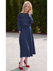 ADELA - Midi Ausgestelltes Kleid gestrickt - Marineblau in Tupfen