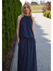 AMIRA - Maxi / long cotton dress - navy blue in polka dots