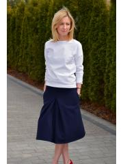 TRIKONA - cotton midi skirt with a fold - Navy blue
