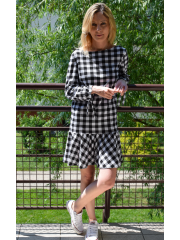 TAYLOR - mini sukienka w kratę z falbaną