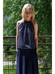 ATENA - Tied knit blouse navy blue in polka dots