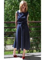 sukienka EMMA - granatowa w białe groszki / kropki