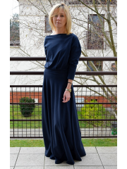 KORNELIA - LONG KNITTED DRESS - navy blue