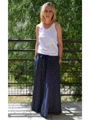 DRESCODE - long, cotton skirt with a bow or knit - in polka dots